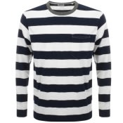 Product Image for Edwin Long Sleeve Ringer Bar Striped T Shirt Navy