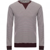 Product Image for Edwin Long Sleeve Striped Waffle T Shirt Brown
