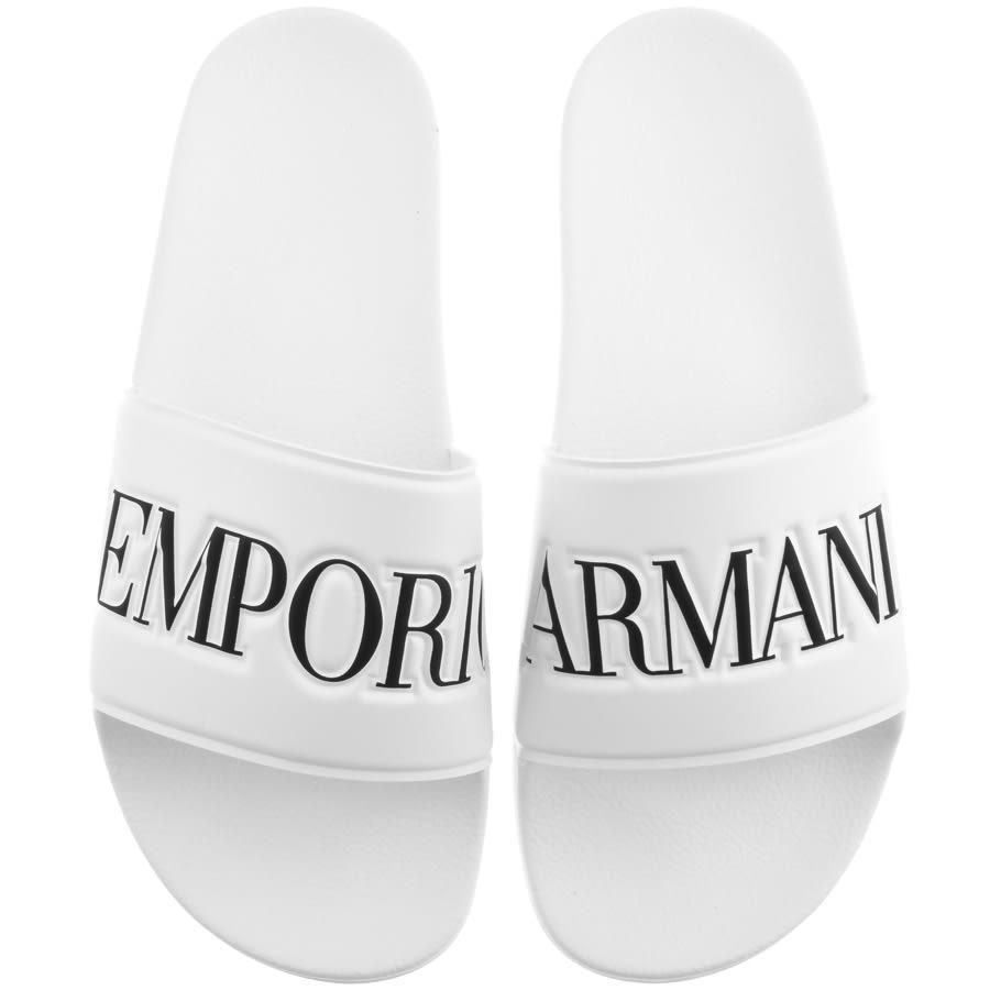 emporio armani sliders white