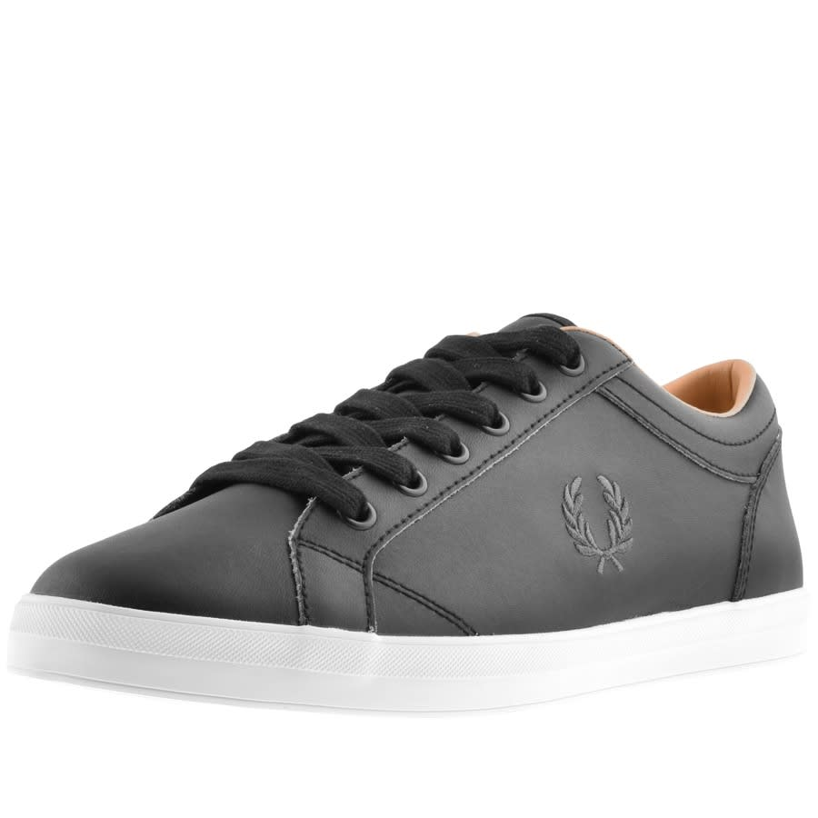 Mens Fred Perry Trainers B6158-102 Black Baseline Leather