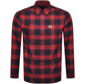 Product Image for Fred Perry Tartan Long Sleeved Shirt Red