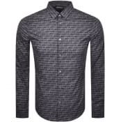 Product Image for Emporio Armani Slim Logo Long Sleeve Shirt Black