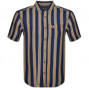Product Image for Fred Perry Short Sleeved Stripe Shirt Blue
