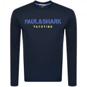 Product Image for Paul And Shark Long Sleeved Logo T Shirt Navy