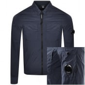 Product Image for CP Company Full Zip Long Sleeved Shirt Navy