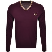 Product Image for Fred Perry Crew Neck Knit Jumper Burgundy
