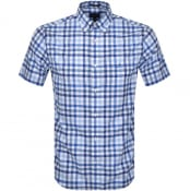 Product Image for Gant Multi Gingham Check Short Sleeved Shirt Blue