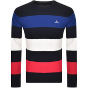 Product Image for Gant Multistripe Cotton Pique Jumper Navy