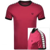 Product Image for Fred Perry Taped Ringer T Shirt Burgundy