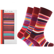 Product Image for Paul Smith Gift Set 3 Pack Stripe Socks Burgundy