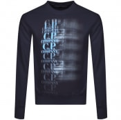 Product Image for CP Company Crew Neck Logo Sweatshirt Navy