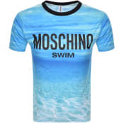 Product Image for Moschino Swim Logo Short Sleeved T Shirt Blue