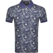 Product Image for Pretty Green Paisley Polo T Shirt Navy