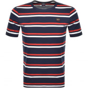 Product Image for Paul And Shark Striped Logo T Shirt Navy