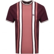 Product Image for Pretty Green Rowe Stripe Knit T Shirt Burgundy