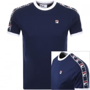 Product Image for Fila Vintage Luca Crew Neck Taped T Shirt Navy