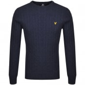 Product Image for Lyle And Scott Crew Neck Cable Knit Jumper Navy