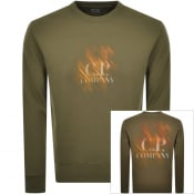 Product Image for CP Company Crew Neck Logo Sweatshirt Green