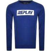 Product Image for Replay Crew Neck Logo Sweatshirt Blue
