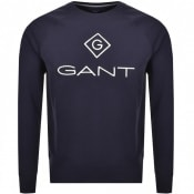Product Image for Gant Logo Crew Neck Logo Sweatshirt Navy