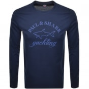 Product Image for Paul And Shark Long Sleeve Logo T Shirt Navy