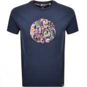 Product Image for Pretty Green Thornley Paisley Logo T Shirt Navy