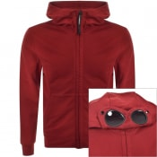 Product Image for CP Company Full Zip Goggle Hoodie Red