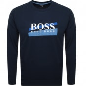 Product Image for BOSS HUGO BOSS Logo Crew Neck Sweatshirt Navy