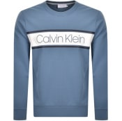 Product Image for Calvin Klein Stripe Logo Sweatshirt Blue