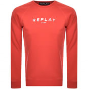Product Image for Replay Crew Neck Logo Sweatshirt Red
