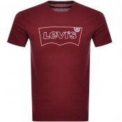 Product Image for Levis Crew Neck Housemark Logo T Shirt Burgundy