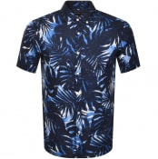 Product Image for Michael Kors Short Sleeved Palm Tree Shirt Navy