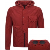 Product Image for CP Company Goggle Hood Overshirt Jacket Red