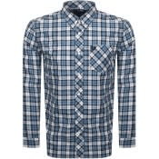 Product Image for Fred Perry Long Sleeved Tartan Shirt Blue