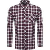 Product Image for Fred Perry Long Sleeved Tartan Shirt Burgundy