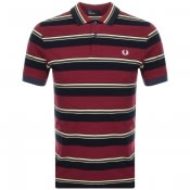 Product Image for Fred Perry Striped Polo T Shirt Burgundy