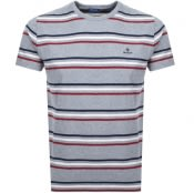 Product Image for Gant Multi Striped T Shirt Grey