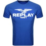 Product Image for Replay Logo Crew Neck T Shirt Blue